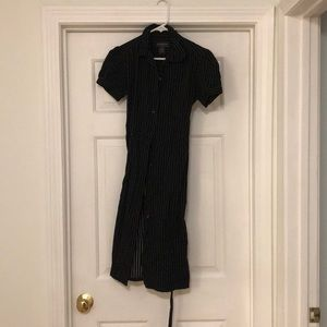 Black shirt dress white polkas